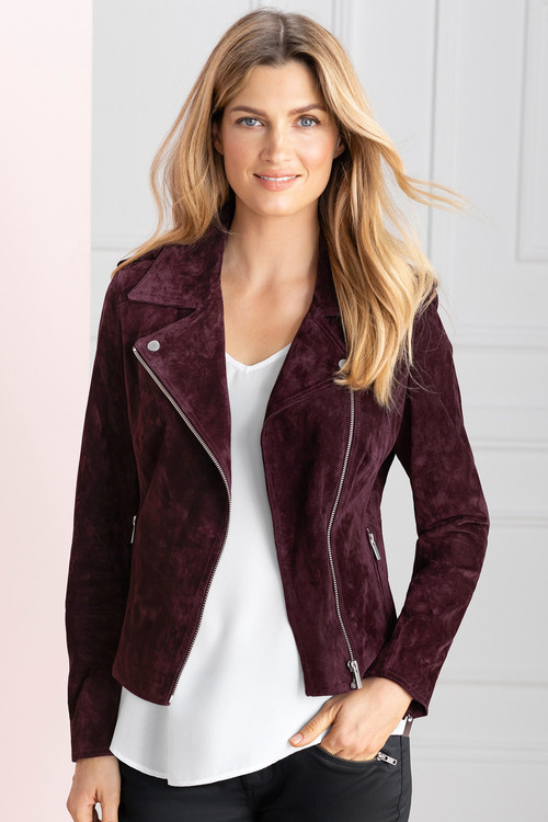 Grace Hill Suede Biker Jacket