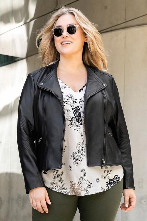 Plus Size - Sara Leather Biker Jacket