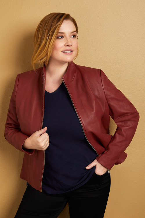 Plus Size - Sara Leather Dress Jacket