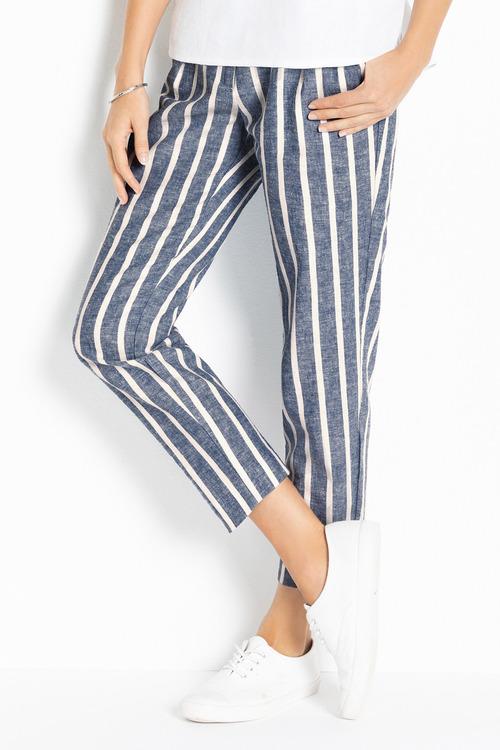 Emerge Linen Pleat Front Cuff Crop Pants