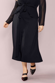 Plus Size - Sara Tie Detail Maxi Skirt - 221130