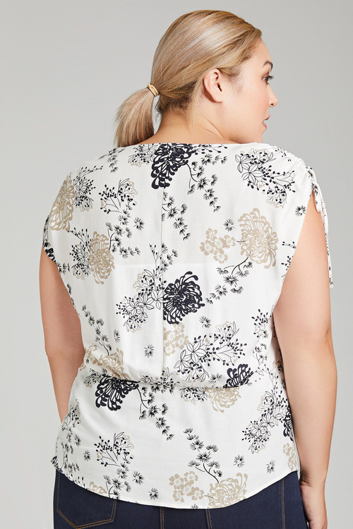 Plus Size - Sara Tie Shoulder Top