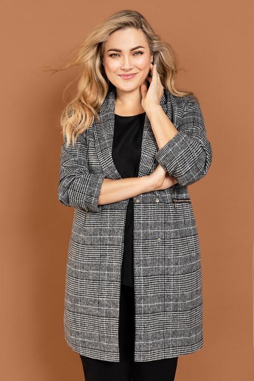 Plus Size - Sara Check Coat