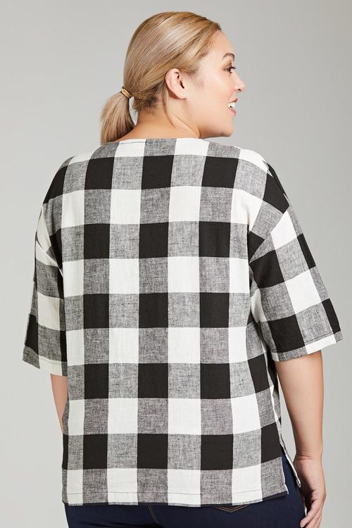Plus Size - Sara Check Button Top