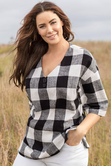 Plus Size - Sara Check Button Top