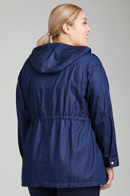 Plus Size - Sara Hooded Denim Jacket