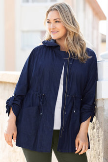 Plus Size - Sara Hooded Denim Jacket