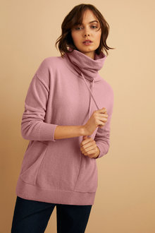 Emerge Lambswool Cowl Neck Sweater - 221186