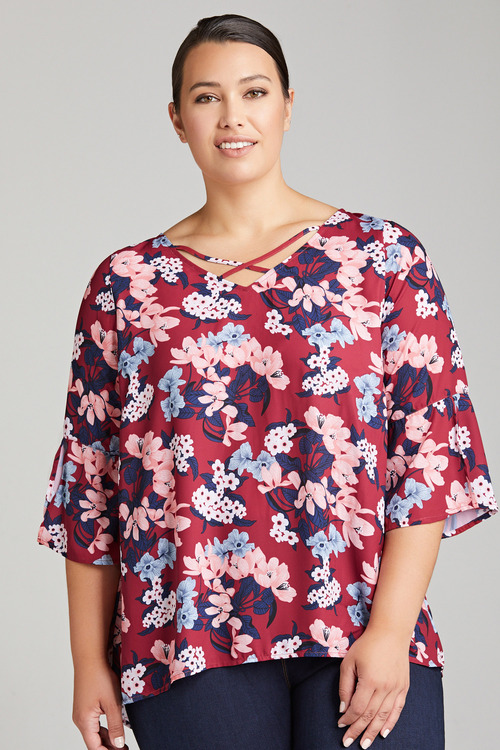 Plus Size - Sara Cross Front Top