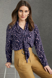 Grace Hill Silk Tie Neck Top