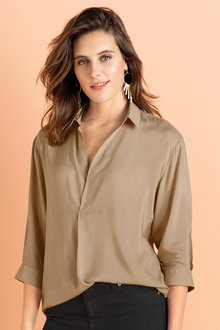 Emerge Half Placket 3/4 Sleeve Shirt