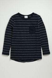 Pumpkin Patch Striped Merino Long Sleeve Top with Scoop Hem