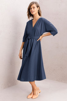 Grace Hill Belted Linen Dress - 221259