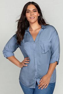 Plus Size - Sara Pearl Button Shirt - 221266