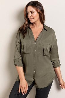 Plus Size - Sara Pearl Button Shirt