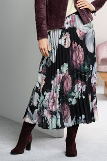 Grace Hill Printed Pleated Skirt