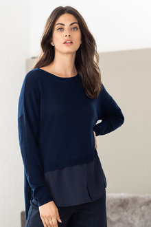 Grace Hill Mixed Media Longline Sweater - 221387