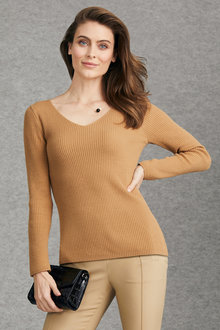 Grace Hill V Neck Rib Long Sleeve Sweater - 221388