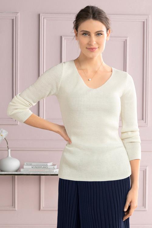 Grace Hill V Neck Rib Long Sleeve Sweater