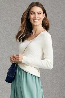 Grace Hill V Neck Rib Long Sleeve Sweater - 221388