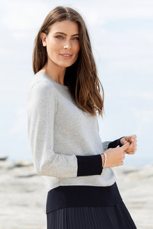 Grace Hill Crew Neck Contrast Trim Sweater