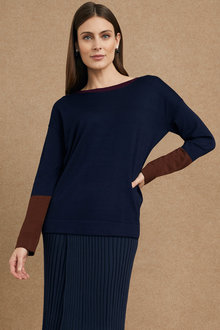 Grace Hill Boat Neck Colour Block Sweater - 221394