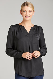 Grace Hill Half Placket Long Sleeve Shirt - 221396