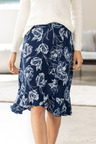 Grace Hill Ruffle Detail Midi Skirt