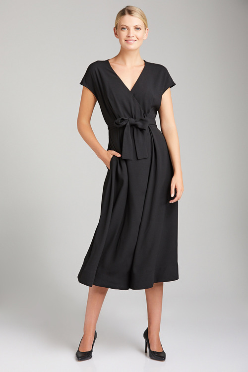 Grace Hill Wrap Satin Back Dress