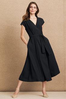 Grace Hill Wrap Satin Back Dress