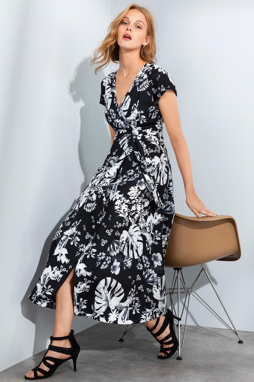 Grace Hill Wrap Satin Back Dress Online | Shop EziBuy