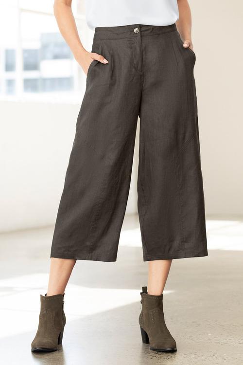 Grace Hill Linen Wide Leg Crop Pant