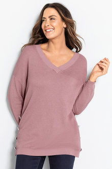 Plus Size - Sara Button Detail Textured Sweater