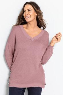 Plus Size - Sara Button Detail Textured Sweater