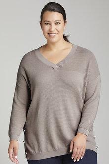 Plus Size - Sara Button Detail Textured Sweater - 221407