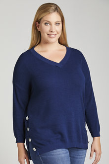 Plus Size - Sara Button Detail Textured Sweater - 221407
