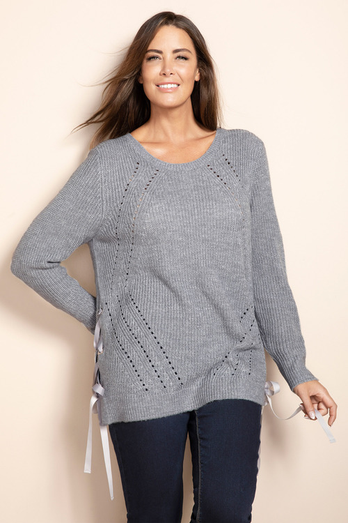 Plus Size - Sara Rib Detail Eyelet Sweater
