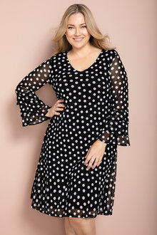 Plus Size - Sara Spotted Mesh Dress