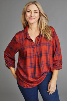 Sara Check Pull on Shirt - 221421