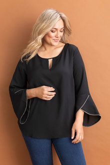 Plus Size - Sara Beaded Neck Top