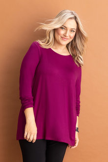 Plus Size - Sara Long Sleeve Pleat Back Top