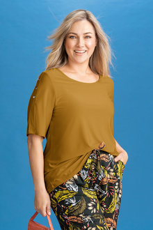 Plus Size - SARA Domed Sleeve Top - 221531