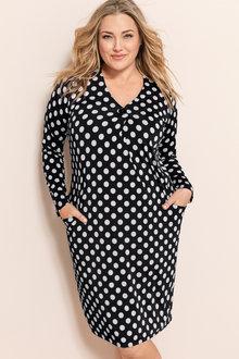 Plus Size - Sara Button Detail Dress