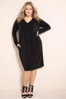 Plus Size - Sara Button Detail Dress