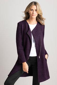 Capture Boiled Wool Asymmetric Zip Coat