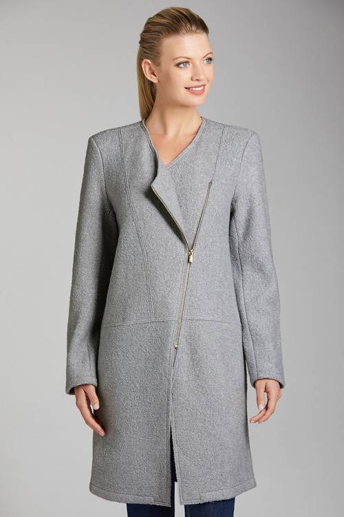 Capture Boiled Wool Asymmetric Zip Coat