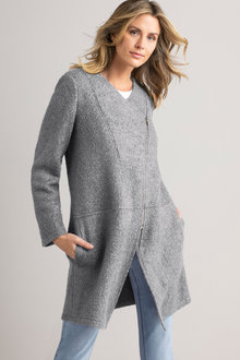 Capture Boiled Wool Asymmetric Zip Coat - 221603
