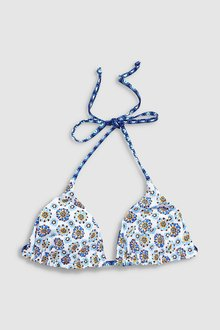 Next Tile Print Reversible Triangle Bikini Top