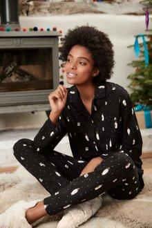 Next Penguin Button Through Pyjamas With Ribbon Wrapping