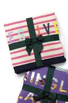 Next Festive Stripe Pyjamas With Ribbon Wrapping